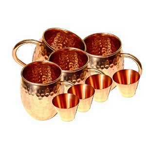 Street Craft Set of 4100% Pureソリッド銅Moscow MuleマグカップHammered Moscow Mule Mug Cup容量18オンス4Smooth銅ショッ...