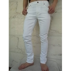 "Nudie Jeans(ヌーディー ジーンズ)【LEAN DEAN】""Carrot Shape Fit""""Clean White""ストレッチ混ホワイトデニムスリムストレートJeans☆"