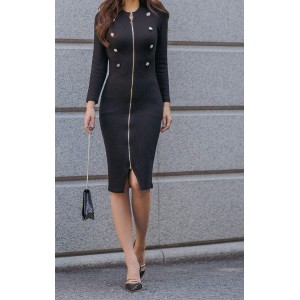ダブルボタンワンピース- This is sexy one-piece having vertical gold zipper and classy golden double buttons