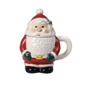Pfaltzgraff Winterberry Jolly Santa Coveredマグ、18-ounce