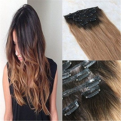 HairDancing 45cm 7Pcs 120g Human Clip in Extensions Full Set Hair Extensions Ombre Brazilian...