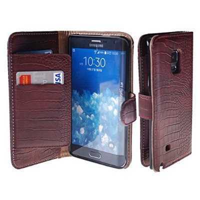 Galaxy Note Edge Case, [Vintage Wine] Bi-Fold Flip Cover [Book Wallet] Leather Case [6 Card Slot]...