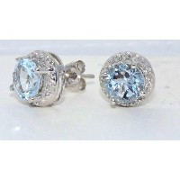 1.5 Ct Genuine Aquamarine Round Diamond Stud Earrings .925 Sterling Silver Rhodium Finish