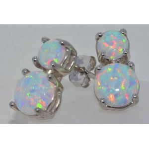 Simulated Opal Double Stud Earrings .925 Sterling Silver Rhodium Finish