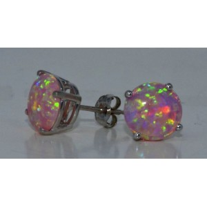 Simulated Pink Opal Round Stud Earrings .925 Sterling Silver Rhodium Finish