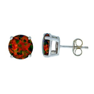 Simulated Black Opal Round Stud Earrings .925 Sterling Silver Rhodium Finish