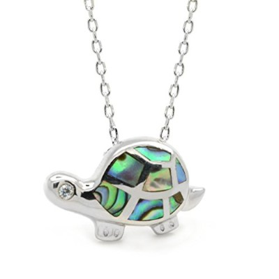 Sea Turtle AbaloneネックレスPaua Shell InlayスターリングシルバーCZ動物Sealife Nautical、17-inches