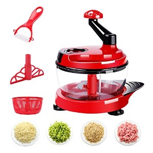 LUCKSTAR手動フードプロセッサー–Food Chopper with 3Blades–Meat Grinder Suit forカット野菜&肉&オニオン&ナット追加のギフト レッド