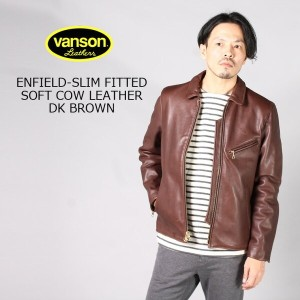 VANSON (バンソン) ENFIELD-SLIM FITTED SOFT COW LEATHER - DK BRWON