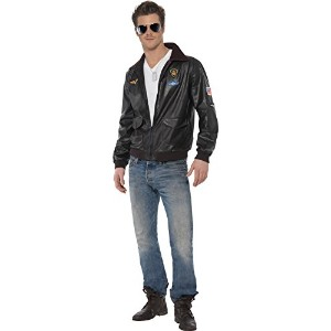 "Smiffys Men's Black Top Gun Bomber Jacket - Chest 38""-40"", Leg Inseam 32.75"""
