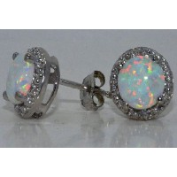 Simulated Opal & Diamond Round Stud Earrings .925 Sterling Silver Rhodium Finish