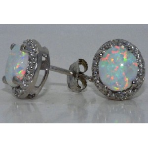 Simulated Opal & Diamond Round Stud Earrings 14Kt White Gold & Sterling Silver