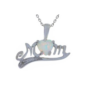 Simulated Opal & Diamond Heart MOM Pendant .925 Sterling Silver Rhodium Finish
