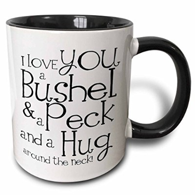 3dRose mug_193477_4 I Love You a Bushel and a Peck White and Black Two Tone Black Mug, 330ml, Black...