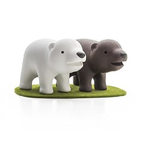 Cute Salt and Pepper Shakers Brother Bear by Qualy Design Studio. White and Brown Shakers on Green Color Lawn Magnetic Base. Great New Home Owner Present. Cool Housewarming Gift. by Qualy