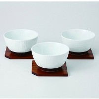 波佐見焼 レリーフ ボウルトリオS(木台付) 小鉢 Japanese Porcelain Hasami ware gift. Set of 3 releaf bowl with wooden...