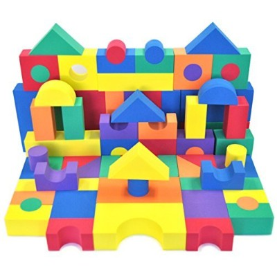 Non-Toxic 80 Piece (2 Set) Non-Recycled Quality foam Wonder Blocks for Children w/ Carry Totes:...