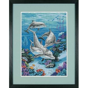 DIM クロスステッチキット  The Dolphins Domain 【並行輸入品】           Dimensions Needlecrafts Counted Cross Stitch,...