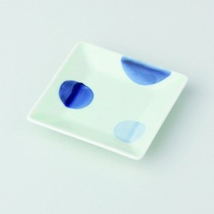 波佐見焼 二色丸紋 角小皿 5枚セット 小皿 Japanese porcelain Hasami ware. Set of 5 nishokumarumon small square plates.