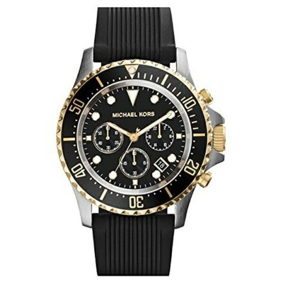 マイケルコース Michael Kors メンズ 腕時計 時計 Michael Kors Everest Chronograph Black Dial Black Silicone Mens...
