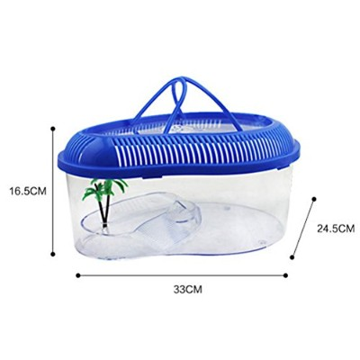 Zhhlinyuan 爬虫類ボックス Pet care Mini portable transparent plastic pet box Turtle Lizard Spider...
