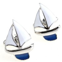 SSホワイトヨットSailing Yacht Cufflinks for Men