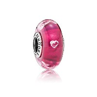 PANDORA Charms パンドラ チャーム - チェリー赤いハート形のバブルグラス - Cherry red heart shaped bubble glass