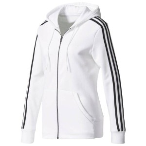 アディダス レディース トップス パーカー【adidas Athletics 3-Stripes Cotton Full-Zip Hoodie】White/Black