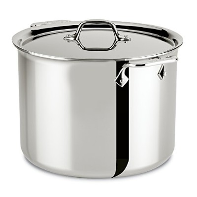 All-Clad 4512 Stainless Steel Tri-Ply Bonded Dishwasher Safe Stockpot with Lid/Cookware, 12-Quart,...