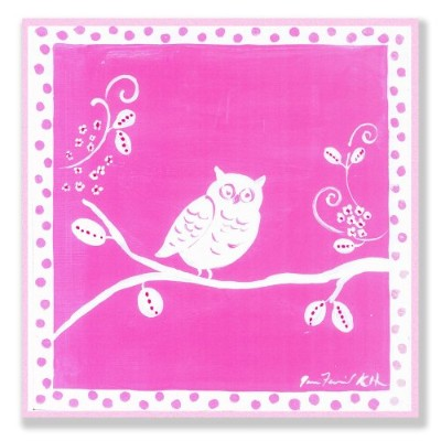 The Kids Room by Stupell White Owl on Pink Square Wall Plaque by The Kids Room by Stupell