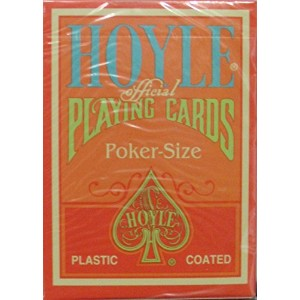 HoyleオレンジClamshell Playing Cards with Green Pips - 1デッキ