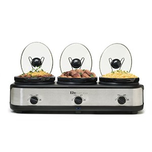 Elite Platinum EWMST-325 Maxi-Matic Triple Slow Cooker Buffet, Black/Silver by Elite Platinum
