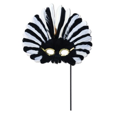 Beistle Feathered Mask with Stick forハロウィンパーティー One-Size 57067-BKW