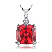 JewelryPalace 4.7ct クッション カット ルビー ネックレス ペンダント スターリング シルバー925 チェーン 45cm