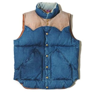 ★SALE 30%OFF★ WAREHOUSE ウエアハウス × Rocky Mountain Feather Bed ロッキー マウンテン  DENIM DOWN VEST USED WASH...