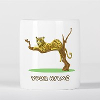 Customized Lazy Leopard on Tree Africa Children Kids Personalised 貯金箱