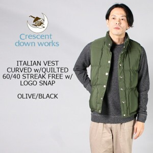 CRESCENT DOWN WORKS (クレセントダウンワークス) ITALIAN VEST CURVED w/QUILTED 60/40 STREAK FREE w/ LOGO SNAP -...