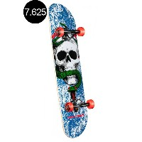 【POWELL PERALTA パウエル・ペラルタ】7.625in x 31.625in SKULL AND SNAKE ONE OFF BLUE/RED COMPLETEコンプリートデッキ...