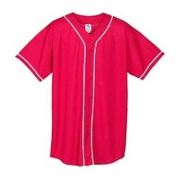 WickingメッシュButton Front Baseball Jersey with BraidトリムからAugusta Sportswear