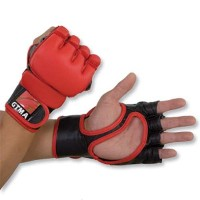 GTMaレザーMMA総合格闘技Grappling Gloves with 2トーン – レッドwithブラックトリム