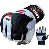 RDX Cow Hide Leather MMA Grappling Gloves UFCケージFightingスパーリンググローブトレーニングt3 ホワイト