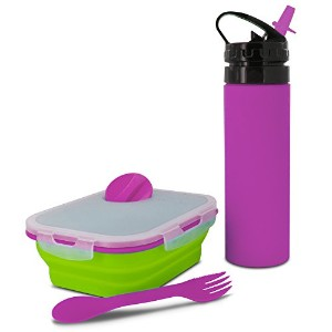 スマートPlanet Eco Collapsible 32 oz Meal Kit and 18 oz Squeezeボトルコンボ グリーン EC34KMSGP