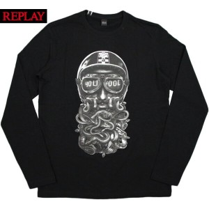 REPLAY/リプレイM3463 PRINTED JERSEY L/S T-SHIRT 長袖プリントTシャツ/長袖カットソー BLACK(ブラック)