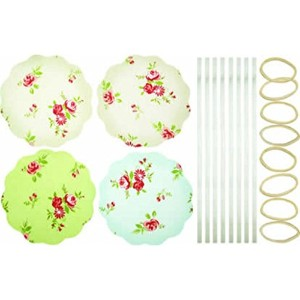Home Made Set of 8 Fabric Jar Cover Kit Floral Patterned