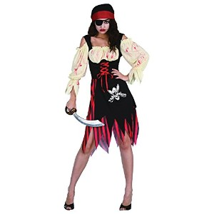 Bristol Novelty Black/Red Pirate Zombie Wench Adult Costumes - Women's - One Size