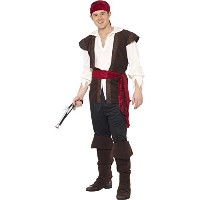 "Smiffys Men's Brown/White Pirate Costume - Chest 46""-48"""