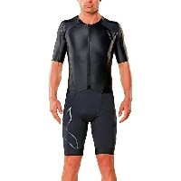 2XU メンズ サイクリング スポーツ 2XU Compression Full-Zip Sleeved Tri Suit Black/Black