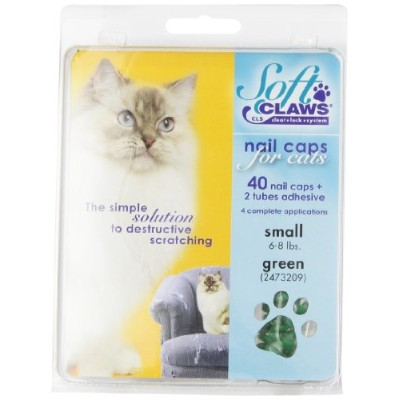 Soft Claws for Cats - CLS (Cleat Lock System), Size Small, Color Green by Soft Claws