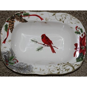 """222Fifth Holiday Wishes Oval Serving / Vegetable Bowl–111/ 4"""" x 81/ 2"""""""