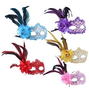 Zhhlinyuan 仮面 5 Pieces Masquerade Masks Halloween Masks Evening Prom Venetian Mardi Gras Party 4861#